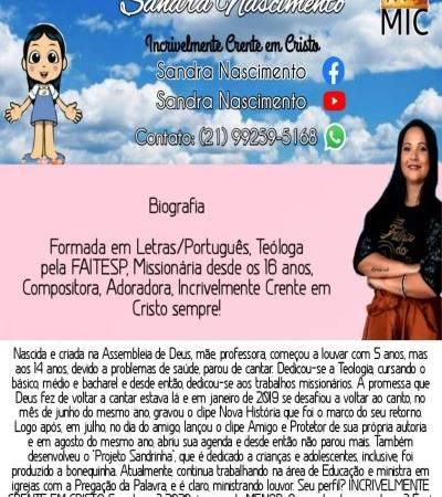 – Sandra Nascimento – incrivelmente crente em cristo. Contato para eventos no WHATSAPP: (21) 99259-5168